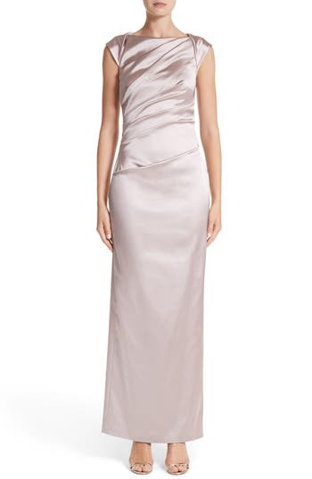 Talbot Runhof Bateau Neck Stretch Satin Column Gown, Grey