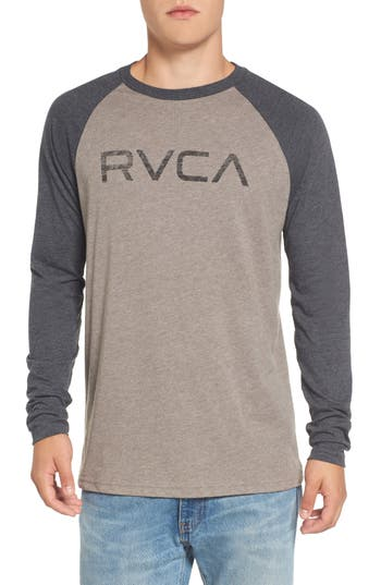 Rvca Logo Graphic Long Sleeve T-Shirt, Grey