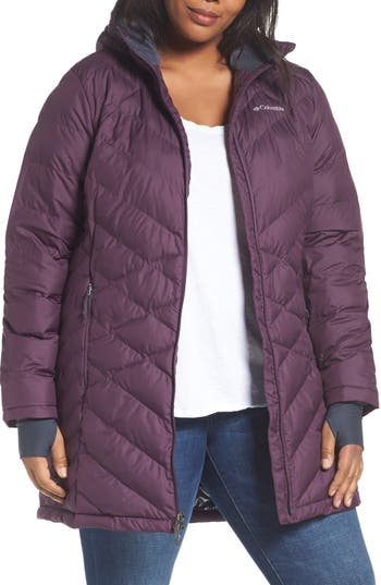 Plus Size Columbia Heavenly Water Resistant Insulated Long Hooded Jacket, Purple