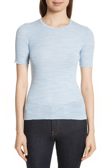 Theory Fitted Merino Wool Blend Sweater, Size Petite - Blue