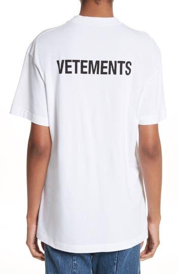 Vetements staff basic logo tee white print modesens for Vetements basic staff t shirt