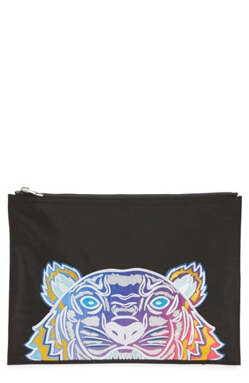 Kenzo Rainbow Tiger Embroidered A4 Pouch - Black