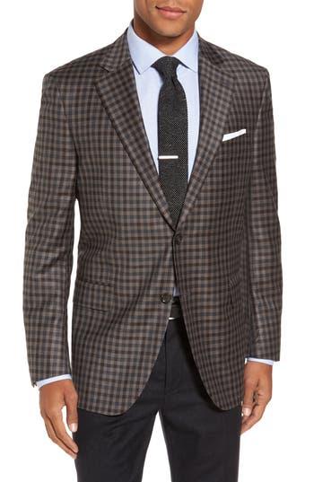 Big & Tall Peter Millar Flynn Classic Fit Check Wool Sport Coat, 4 R - Brown