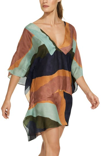 Vix Swimwear Margarita Cloe Cover-Up Caftan, Coral