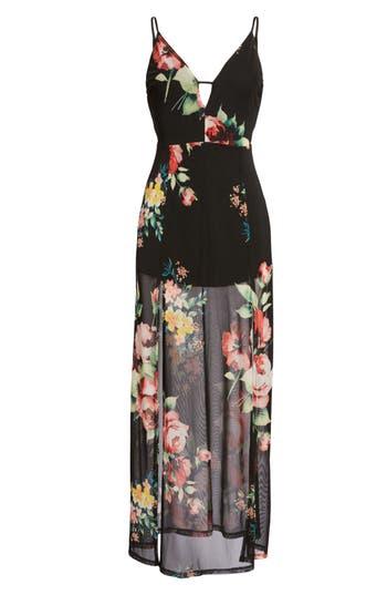 Floral Maxi Dress, Black