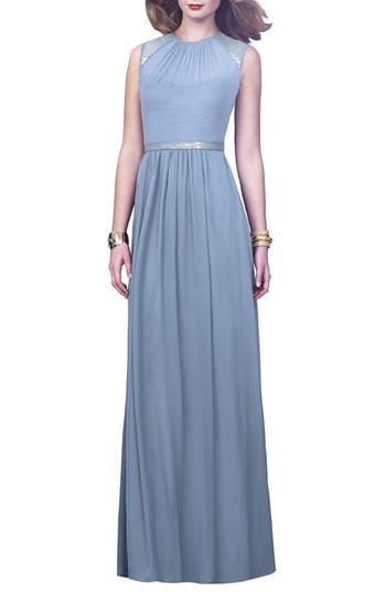 Dessy Collection Embellished Open Back Gown, Blue