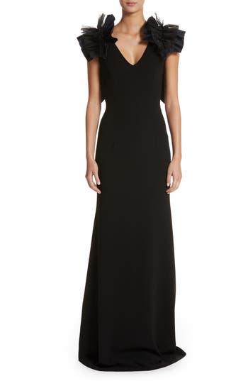 Sachin & Babi Noir Organza Ruffle Gown, Black
