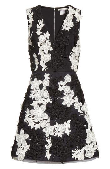 Alice + Olivia Embellished V-Neck Dress, Black