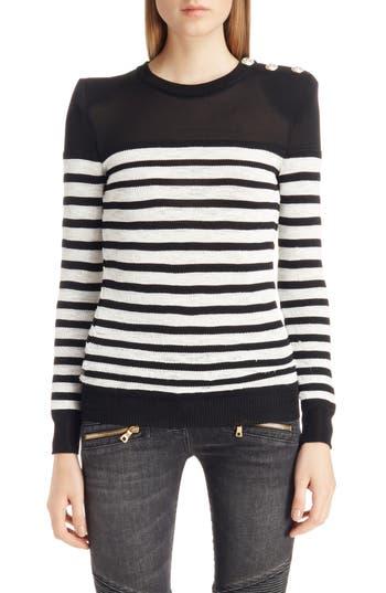 Women's Balmain Marine Stripe Knit Sweater, Size 4 US / 36 FR - Black