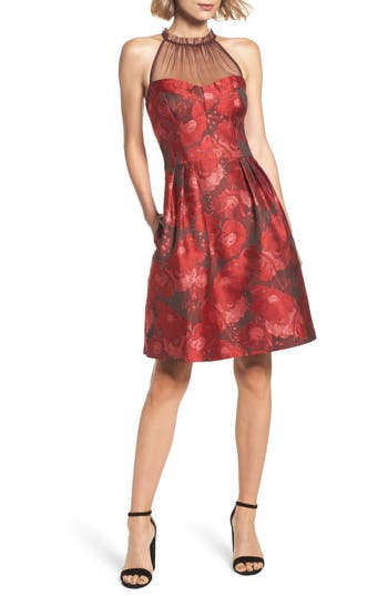 Maggy London Brocade Fit & Flare Dress, Red