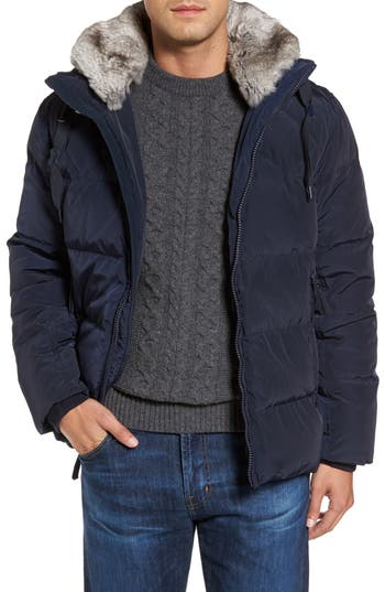 Marc New York Navan Quilted Down Jacket With Genuine Rabbit Fur Trim, Blue