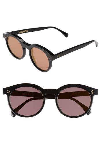 Wildfox Harper Zero 5m Round Keyhole Sunglasses - Black/ Gold