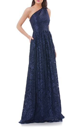 Carmen Marc Valvo Infusion One Shoulder Sequin Lace Gown, Blue