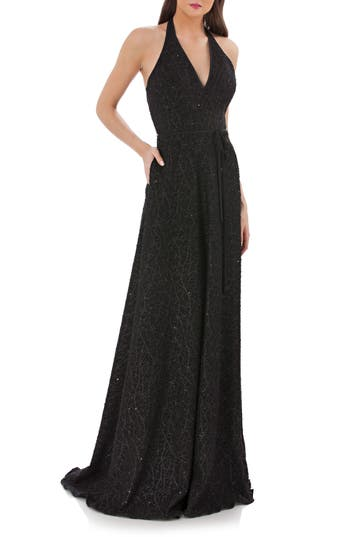 Carmen Marc Valvo Infusion Sequin Halter Gown, Black