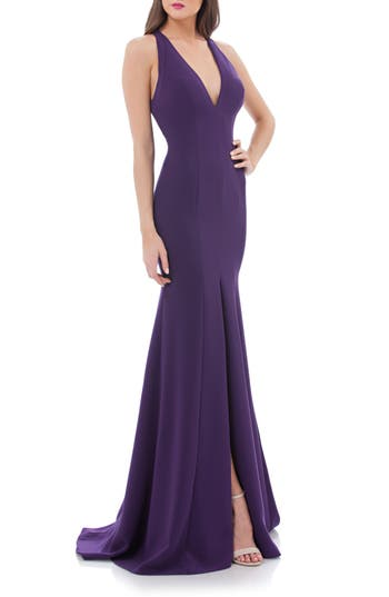 Carmen Marc Valvo Infusion V-Neck Halter Style Gown, Purple