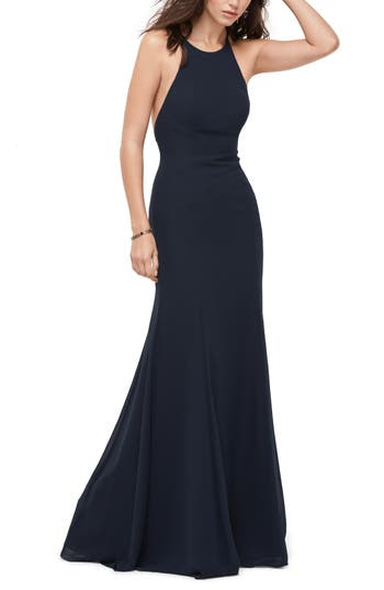 Wtoo Chiffon Tie Back Gown, Blue