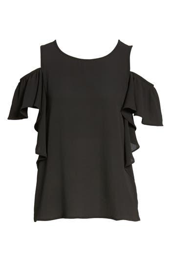 Women's Bobeau Cold Shoulder Ruffle Sleeve Top, Size Medium - Black