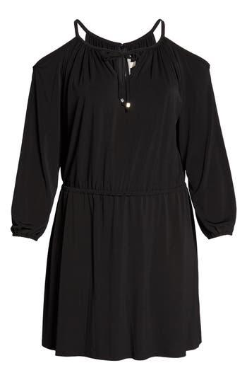 Plus Size Michael Michael Kors Cold Shoulder A-Line Jersey Dress, Black