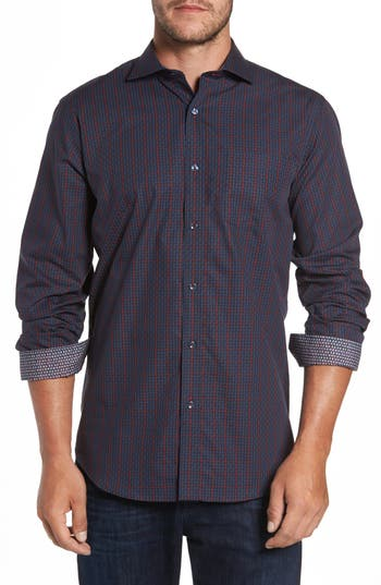 Men's Bugatchi Classic Fit Windowpane Check Sport Shirt