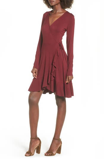 Women's Soprano Ruffle Wrap Dress, Size X-Small - Red