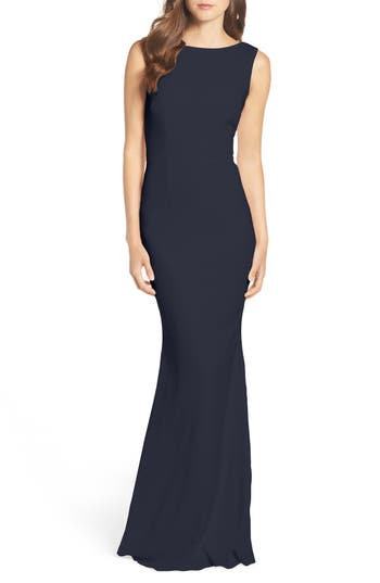 Katie May Drape Back Crepe Gown, Blue