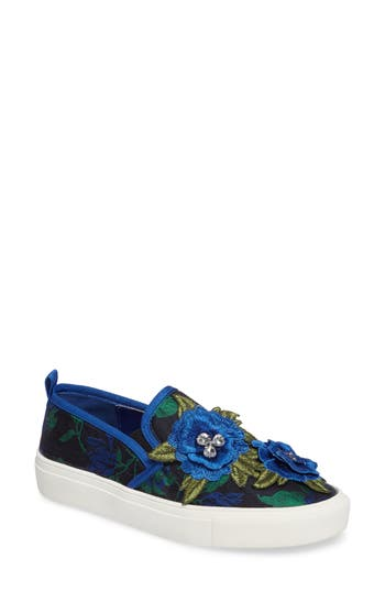 Topshop Tessa Embroidered Slip-On Sneaker - Blue