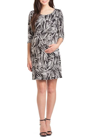 Lilac Clothing Print Maternity Shift Dress, Black