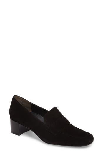 Paul Green Oscar Block Heel Loafer, .5UK - Black