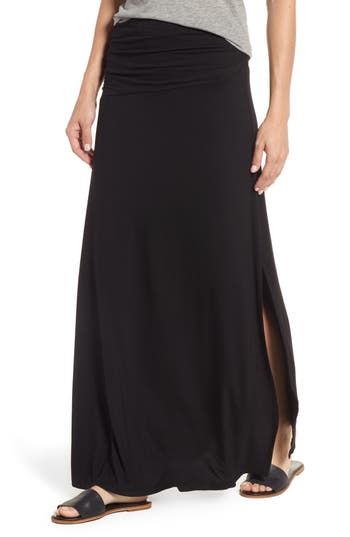 Women's Bobeau Ruched Side Slit Maxi Skirt at NORDSTROM.com