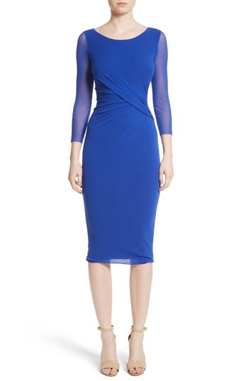 Fuzzi Ruched Tulle Dress, Blue