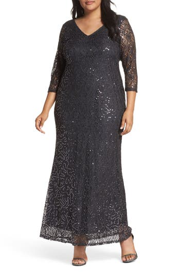 Plus Size Marina Sequin Lace A-Line Gown, Grey