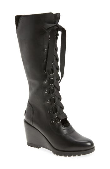 Sorel After Hours Lace Up Wedge Boot- Black