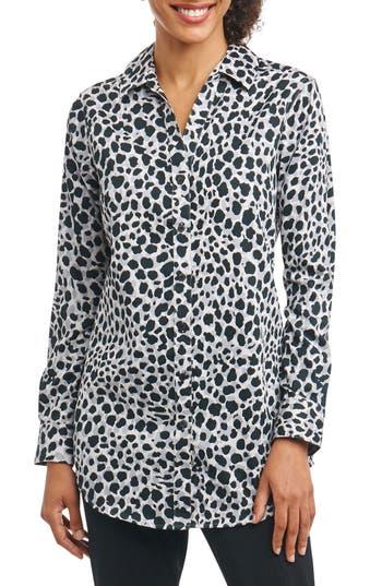 Foxcroft Fay Animal Print Shirt, Grey