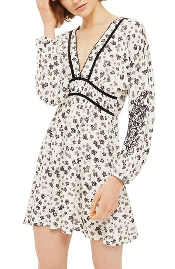 Topshop Floral Embroidered Tea Dress, US (fits like 2-4) - White