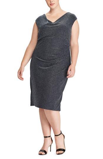 Plus Size Lauren Ralph Lauren Valli Metallic Knit Dress, Blue