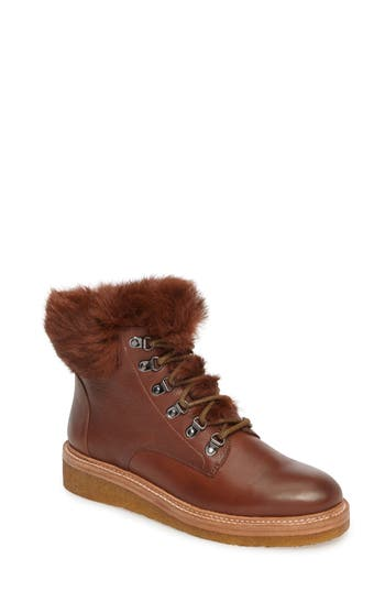 Botkier Winter Genuine Rabbit Fur Trim Boot- Brown