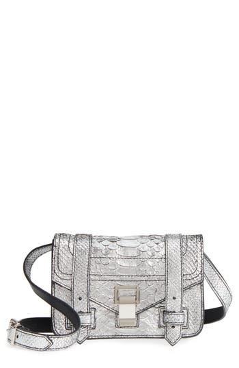 Proenza Schouler Mini Ps1 Snakeskin Embossed Metallic Leather Crossbody Bag - Metallic