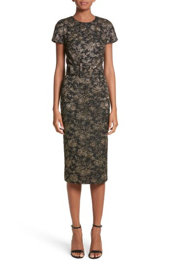 Michael Kors Metallic Floral Jacquard Sheath Dress, Black