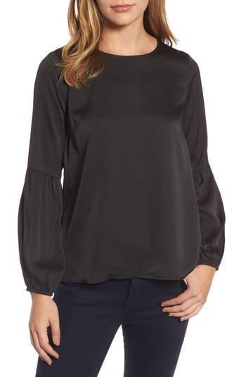 Women's Bobeau Bubble Sleeve Satin Top, Size X-Small - Black