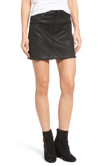 Blanknyc Black Jack Coated Denim Miniskirt, Black