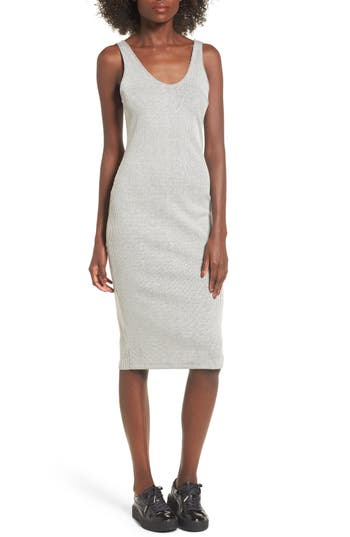 Ribbed Body-Con Midi Dress, Grey
