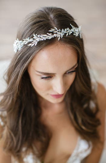 Brides & Hairpins 'Avalon' Leaf Halo & Sash, Size One Size - Grey