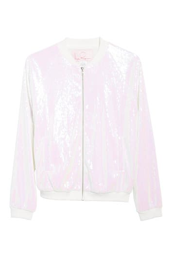 Women's Hayley Paige Sparkle Bride Bomber Jacket, Size Large - White