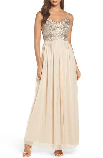Adrianna Papell Beaded Bodice Mesh Gown, Beige