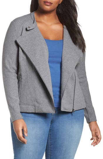 Plus Size Sejour Ottoman Moto Jacket, Grey