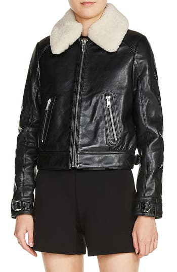 Maje Genuine Shearling Collar Leather Aviator Jacket, Black