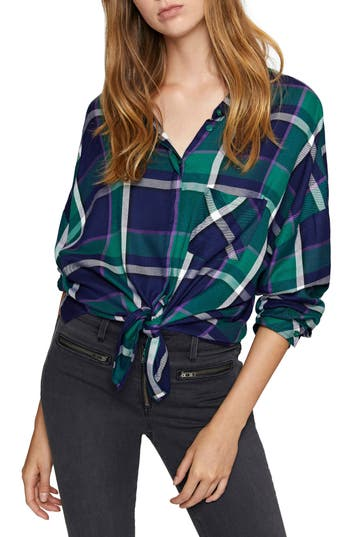 Women's Sanctuary Tie Boyfriend Shirt, Size X-Small - Green