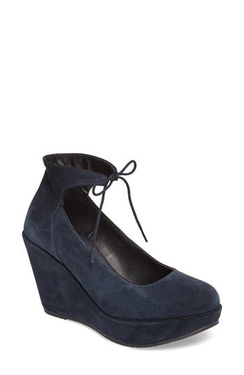 Cordani Remo Ankle Tie Platform Wedge - Blue