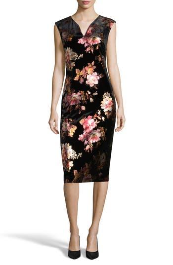 Eci Floral Velvet Sheath Dress, Black