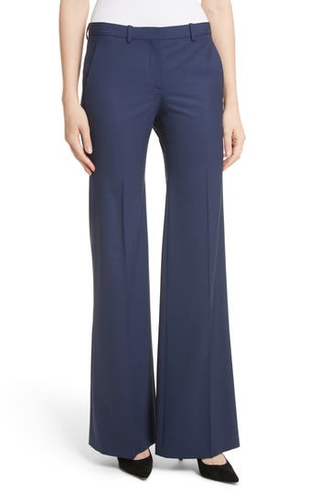 Theory Demetria 2 Flare Leg Good Wool Suit Pants, Blue